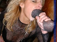 Hot girl sucking massive horse cock for hot cum