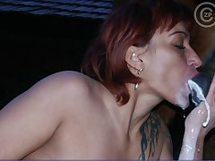 Sweet farmgirl sucking illustrious horse dick be proper of cum