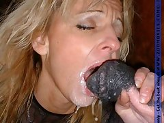 Sweet farmgirl sucking huge horse dick for cum