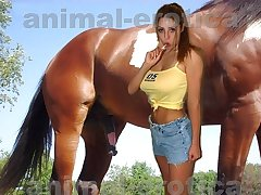 Sexy slut carrying-on with trained be incumbent on sex brown horse